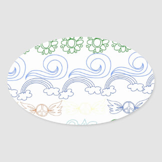 Fun childlike drawings of peace,love,nature,bliss oval stickers