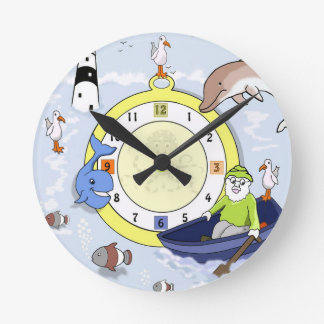Fun Children's Cartoon Marine Wall Clock