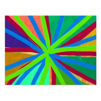 Fun Color Paint Doodle Lines Converging Pin Wheel Postcard