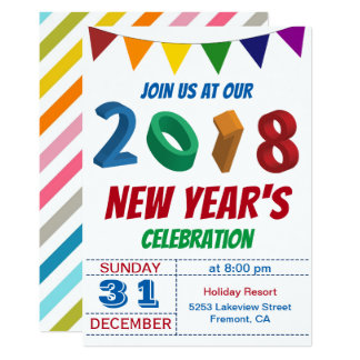 Fun Colorful 2018 New Year's Eve Party Invitation