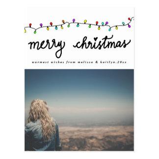 Fun Colorful Christmas Lights Holiday Typography Postcard