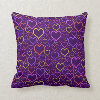 Fun Colorful Neon Hearts Pattern Throw Cushions