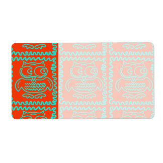 Fun Colorful Owls Orange Teal Blue ZigZag Pattern Shipping Label