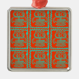 Fun Colorful Owls Orange Teal Blue ZigZag Pattern Silver-Colored Square Decoration