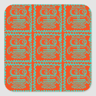 Fun Colorful Owls Orange Teal Blue ZigZag Pattern Square Sticker