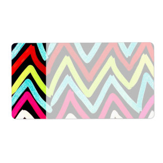 Fun Colorful Painted Chevron Tribal ZigZag Striped Shipping Label
