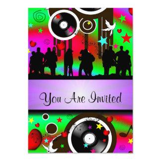 Fun colorful retro music  party 11 cm x 16 cm invitation card