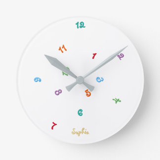 Fun Colors Jumbled Hours Personalized Name Kids Round Clock