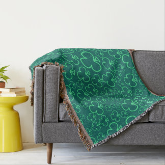 Fun Cool and Unique Pattern of Neon Shamrocks Throw Blanket