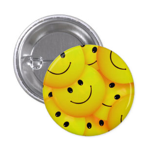 Fun Cool Happy Yellow Smiley Faces 1 Inch Round Button