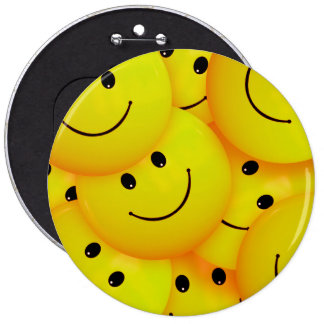 Fun Cool Happy Yellow Smiley Faces 6 Inch Round Button