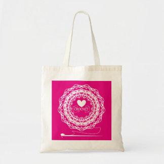 Fun Crochet Themed Pretty Doily Circle Design Tote Bag