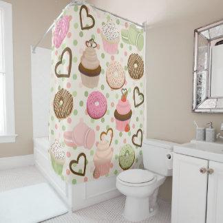 Fun Cupcake and Donut Shower Curtain