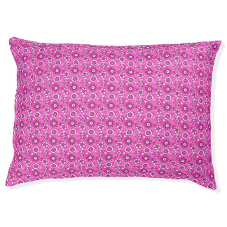 Fun Cute Pink Flowers & Shapes Pattern Pet Bed