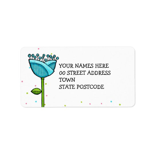 Fun Doodle Flowers blue pink dots Address Label