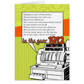 Fun Facts Birthday – Cost of Living in 1912 Greeting Card