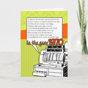 Fun Facts Birthday – Cost of Living in 1970 Card