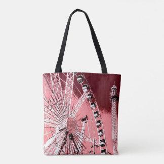 fun fair in amsterdam ferris wheel and high tower tote bag