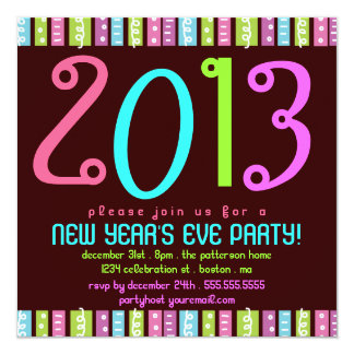 Fun Festive Bright New Years Eve Celebration Party Card