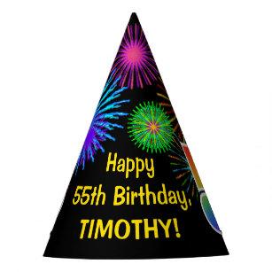 Fun Fireworks Rainbow Pattern 55 Birthday
