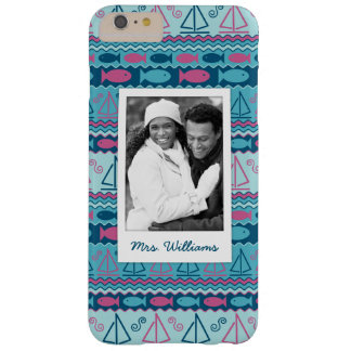 Fun Fish & Sailboat Pattern | Your Photo & Name Barely There iPhone 6 Plus Case