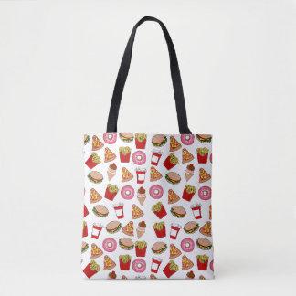 Fun foodie pattern tote bag