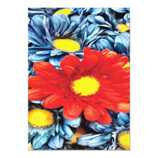 Fun Gerber Daisy Blue Orange Daisies Flower Personalized Invite