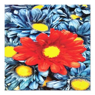 Fun Gerber Daisy Blue Orange Daisies Flower Invitations