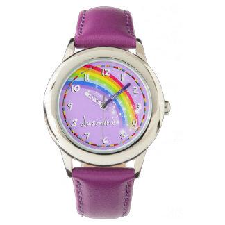 Fun girls rainbow purple name wrist watch