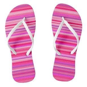 Fun, Girly Pink and Purple Stripes Pattern Jandals