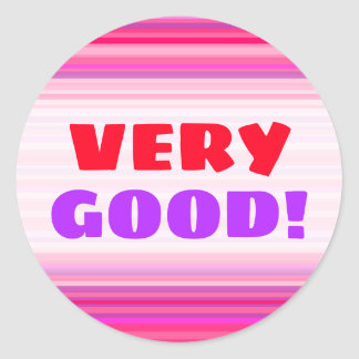 Fun, Happy, Girly Pink and Purple Stripes Pattern Classic Round Sticker