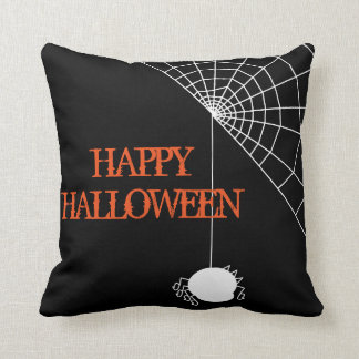 Fun Happy Halloween Trick or Treat Spider with Web Throw Cushion