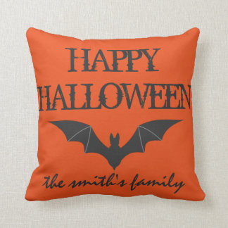 Fun Happy Halloween Trick or Treat with Bat Throw Cushion