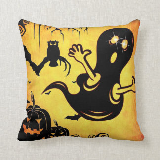 Fun Happy Halloween Trick or Treat with Spider Web Cushion