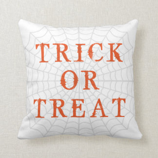 Fun Happy Halloween Trick or Treat with Spider Web Throw Cushion