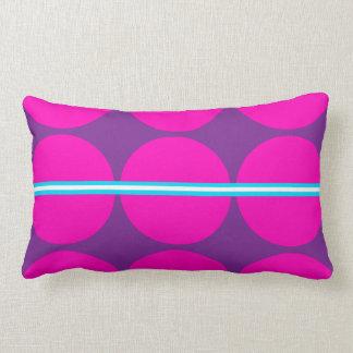 Fun Hot Pink Purple Polka Dots with Teal Stripes Throw Cushion