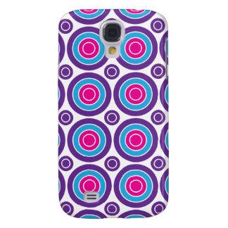 Fun Hot Pink Purple Teal Concentric Circles Design Galaxy S4 Case