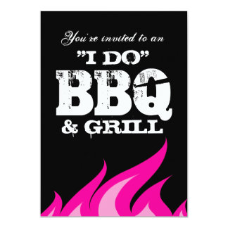 Fun I do BBQ couples shower engagement invitations