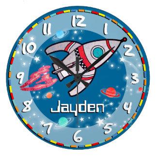 Fun kids boys rocket space blue aqua wall clock