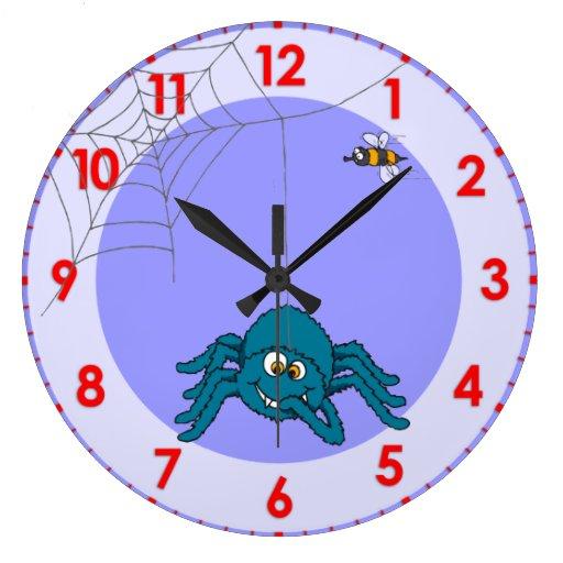 Fun kids spider wall clock