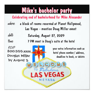 Fun Las Vegas Bachelor Party 13 Cm X 13 Cm Square Invitation Card