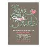 Fun Lettering Pink Brown Bridal Shower Invite 13 Cm X 18 Cm Invitation Card