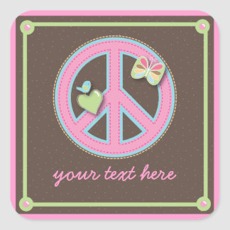 Fun Little Peace Sign Square Sticker