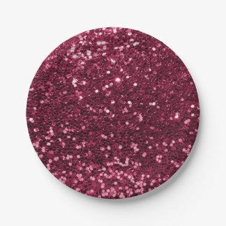 Fun Magenta Pink Faux Glitter Sparkle Print 7 Inch Paper Plate