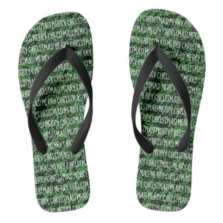 Fun MERRY CHRISTMAS Green and White Word Design Jandals