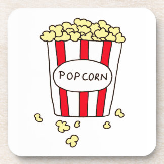 Fun Movie Theater Popcorn in Red White Bucket Coaster