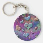Fun Multicolored Metallic Looking Hearts Art Basic Round Button Key Ring