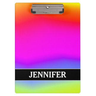Fun Multicolored Rainbow-Like Pattern; Custom Name Clipboard