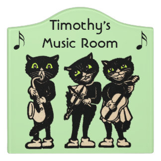 Fun Musician Black Cats Playing Instruments Notes Door Sign
