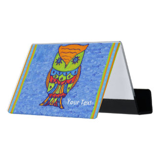 Fun Neon Colors Owl Matching Abstract Borders Desk Business Card Holder